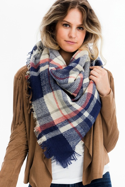 CHIC PLAID SQUARE WRAP SCARF