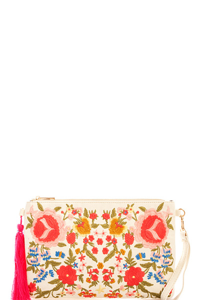 Designer Trendy Embroidery Clutch with Chain