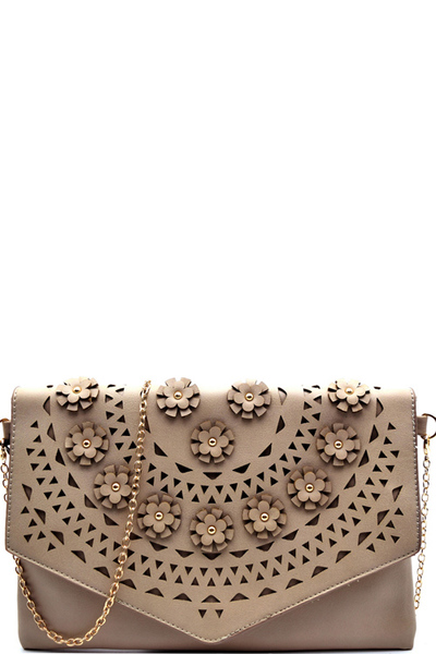 Flower Embellished Laser-Cut Detail Clutch