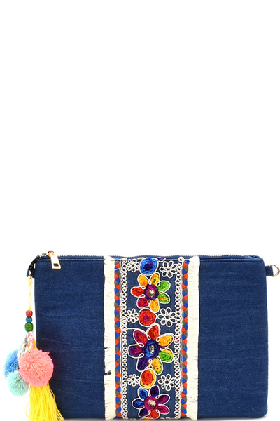 Tread Tassel Accent Embroidery Ethnic Denim Clutch Cross Body