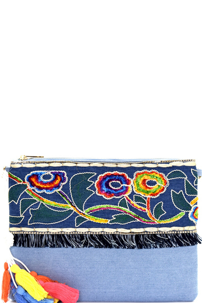 Colorful Thread Tassel Bohemian Embroidery Denim Clutch