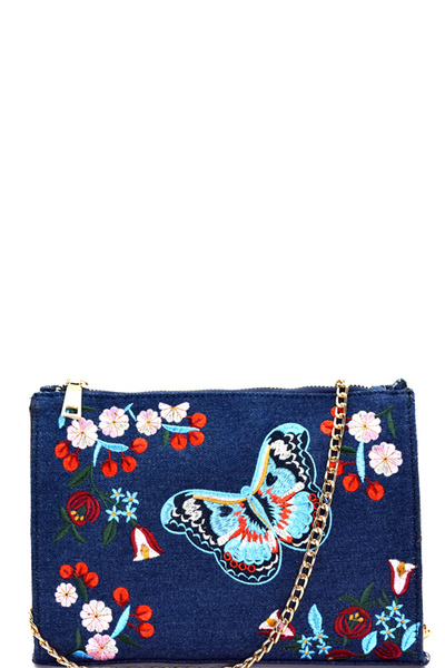 Butterfly Flower Embroidery Denim Cross Body