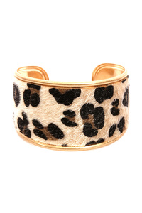 Leopard Print Leather Open Bangle