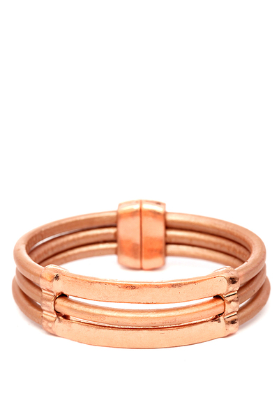 Metal Accent Magnetic Finish Leather Bracelet