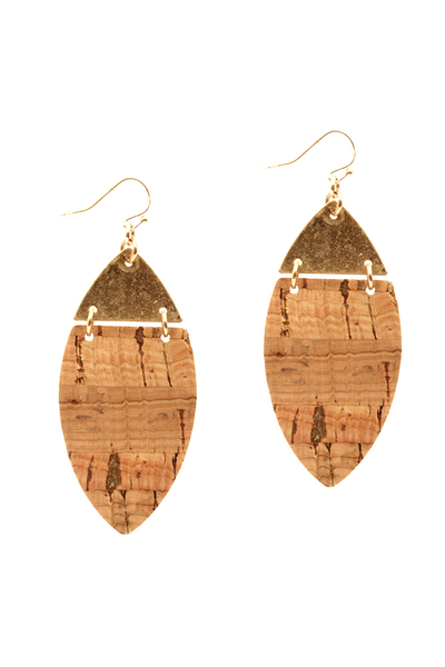 Metal Top Textured Leather Marquise Earring