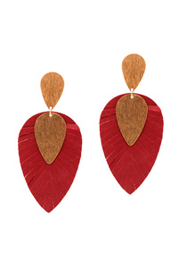 Metal Layer Leather Leaf Post Earring