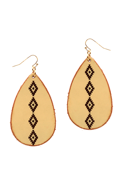 Tribal Pattern Distressed Teardrop Leather Earring