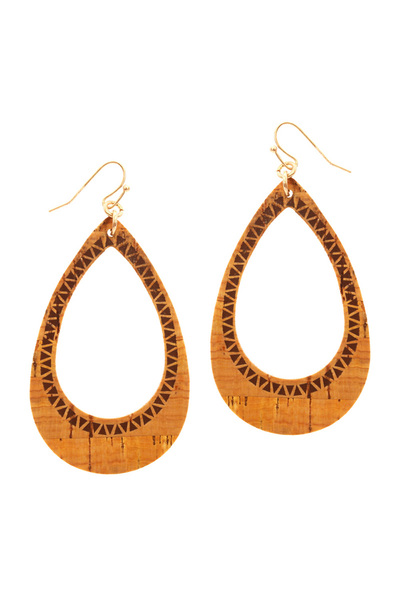 Aztec Stamp Cork Texture Open-cut Boho Teardrop Earring