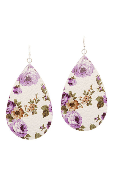 Flower Print Teardrop Leather Earring