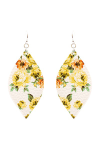Flower Print Leather Marquise Boho Earring
