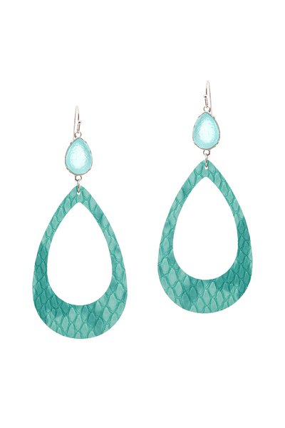 Druzy Stone Snake Print Leather Open Cut Teardrop Earring