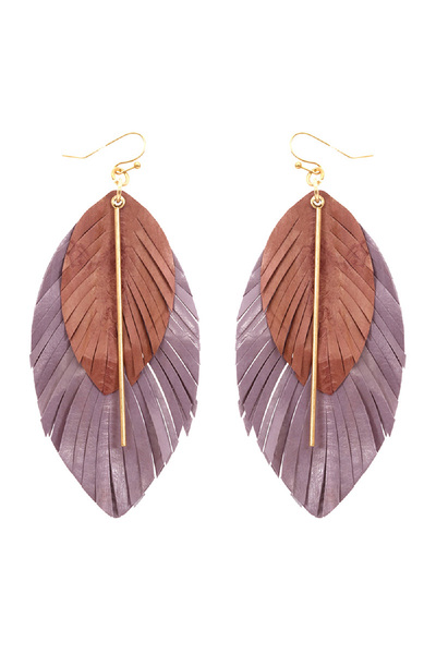 Metal Bar Leather Feather Layered Boho Large Earring