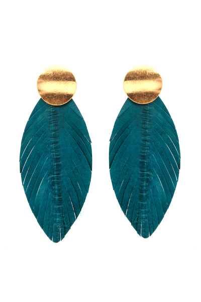 Leather Feather Metal Post Earring