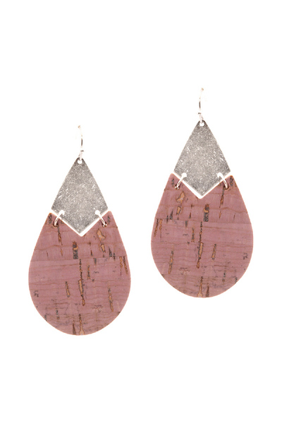 Cork Texture Metal Teardrop Earring