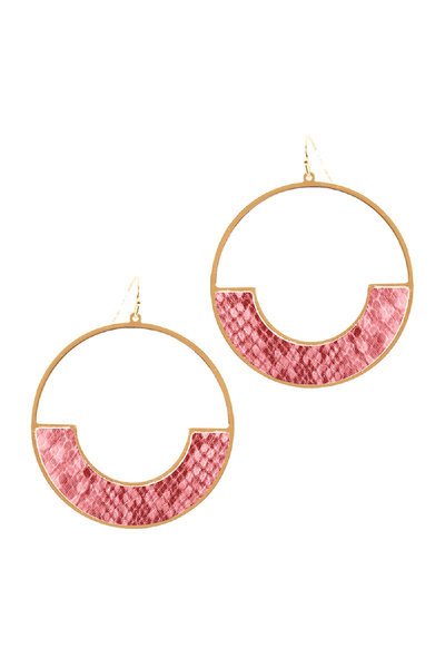 Snake Print Leather Trim Large Round Fish Hook Hoop Earring