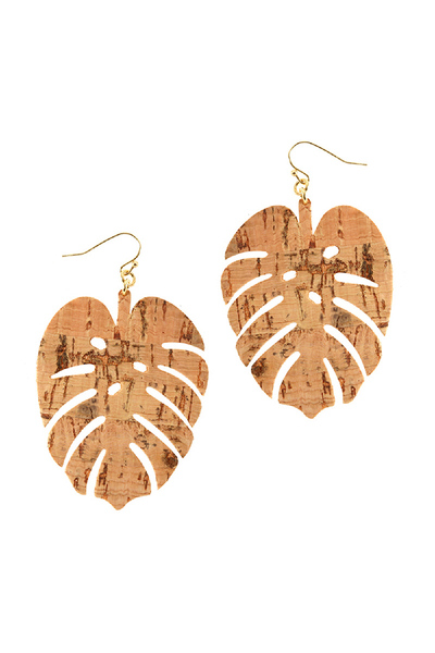 Left Shape Cork Texture Leather Earring