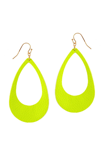 Neon Color Leather Open-cut Teardrop Large Earring