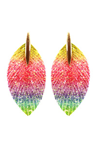Multicolored Glitter Fringed Feather Oversized Earring