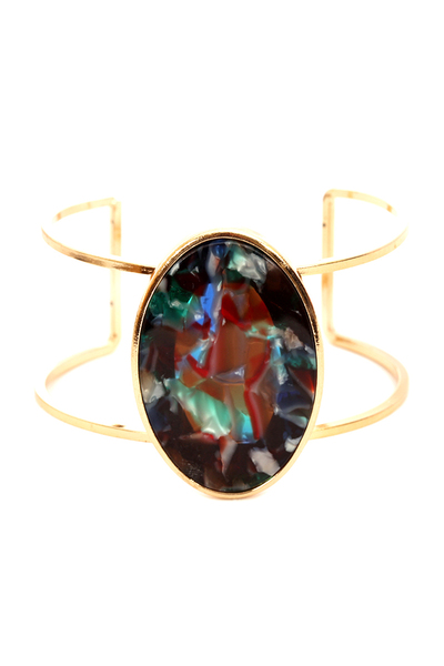 Multi-colored Acrylic Metal Open-cut Cuff Bracelet