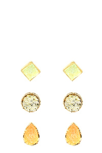 Druzy 3 Pair Post Earring SET