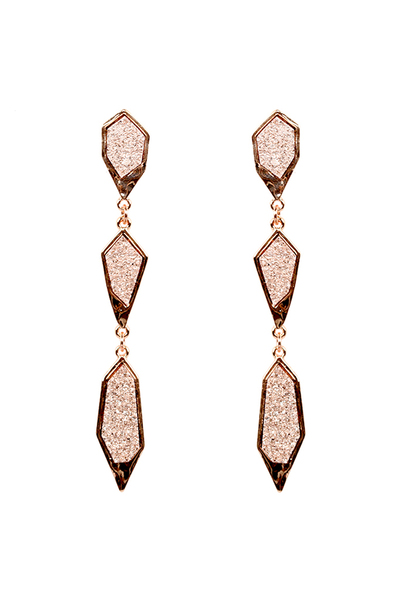 Linked Druzy Stone Drop Earring