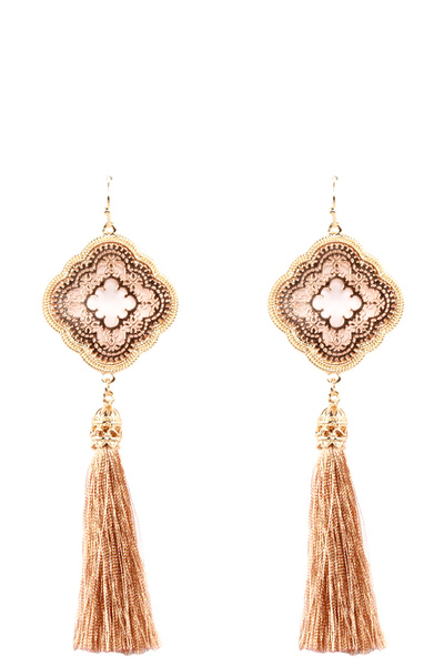 Thread Tassel Metal Filigree Fish Hook Earring