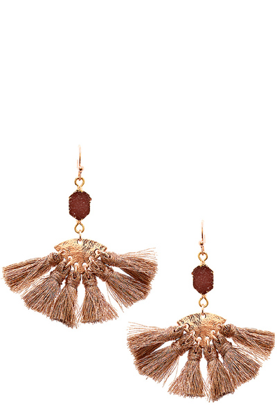 Druzy Stone Fan-Shaped Thread Tassel Earring