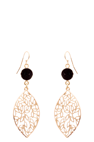 Druzy Stone Metal Filigree Fish Hook Earring