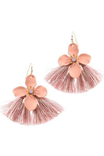 Thread Tassel Metal Flower Boho Earring