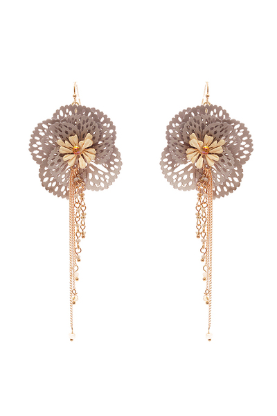 Beaded Chain Fabric Flower Drop Earring