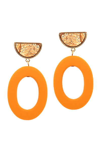 Color-coated Open-cut Oval Acrylic Post Earring