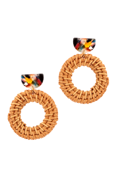Multi-colored Acrylic Straw Open-cut Round Earring