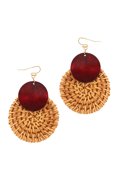 Wood Accent Round Straw Earring