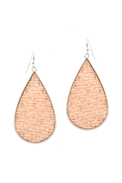Metal Edge Straw Teardrop Earring
