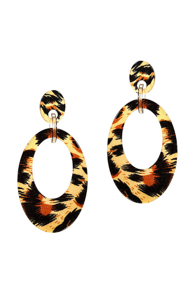 Leopard Print Celluloid Open-cut Post Round Earring