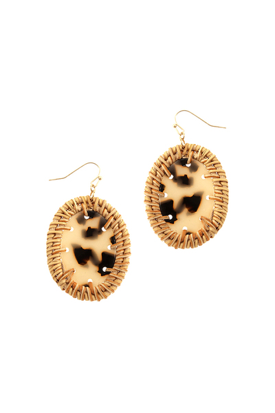 Straw Trim Leopard Print Acrylic Oval Post Earring