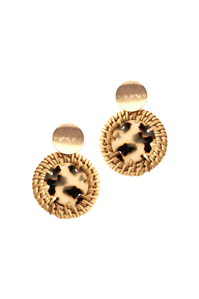 Straw Trim Leopard Print Acrylic Round Post Earring