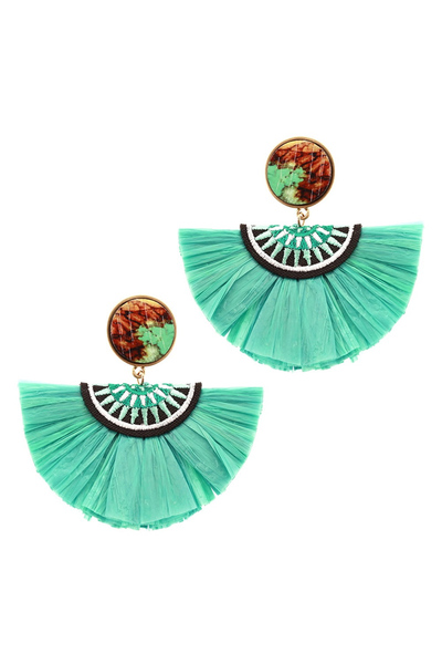 Moroccan Wood Tribal Embroidery Raffia Fringe Tassel Half Moon Earring