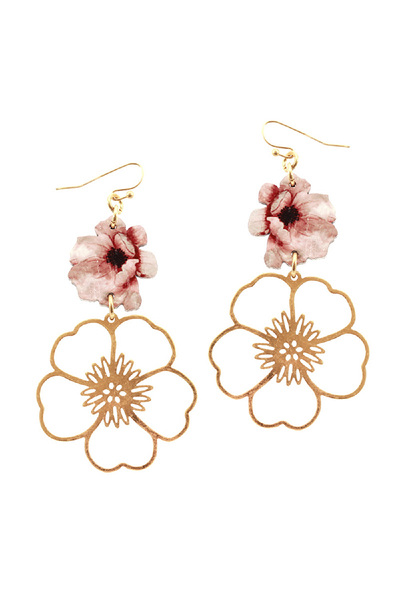 Flower Print Wood Open-cut Metal Flower Drop Earring