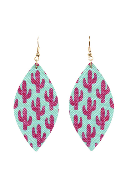 Cactus Pattern Print Boho Canvas Marquise Earring