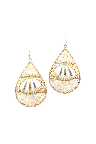 Stone and Shell Embellished Metal Teardrop Earring