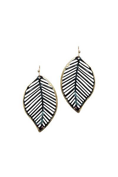 Vintage Boho Painted Patina Cut-out Metal Leaf Earring