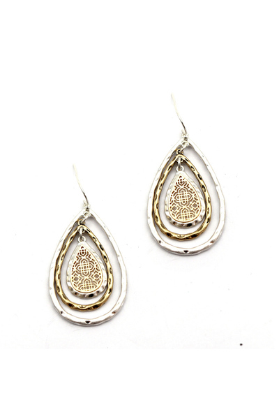 Multi Layered Open-cut Teardrop Filigree Earring