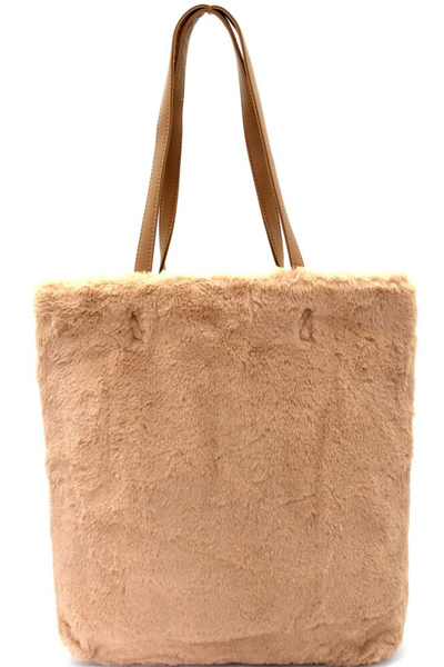 Faux-Fur Tall Shopper Tote