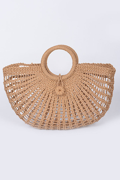 Knitted Straw Carry Satchel Basket Bag