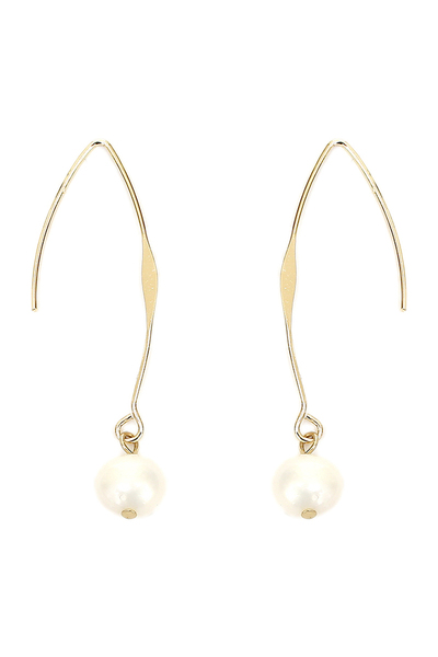 Plastic Pearl Long Fish Hook Earring