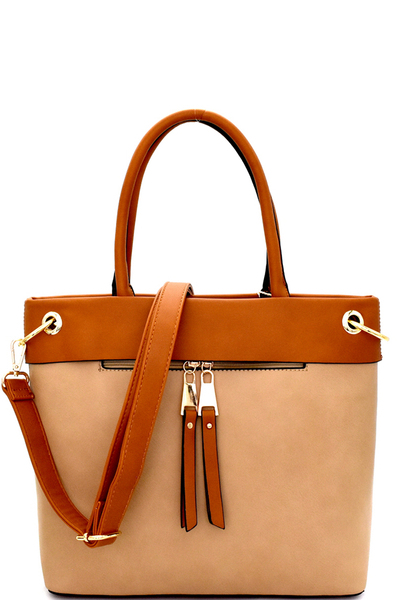 Zipper-Pull Accent 2-Tone Tote