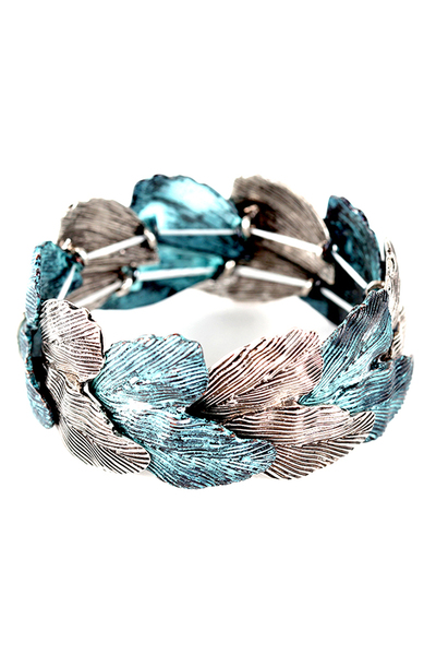 Textured Leaf Shape Metal Bracelet