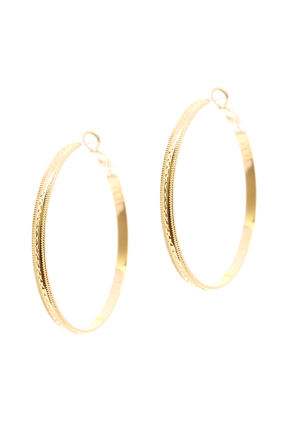 Carved Metal Hoop Earring