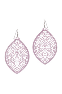 Color-coated Metal Filigree Marquise Earring